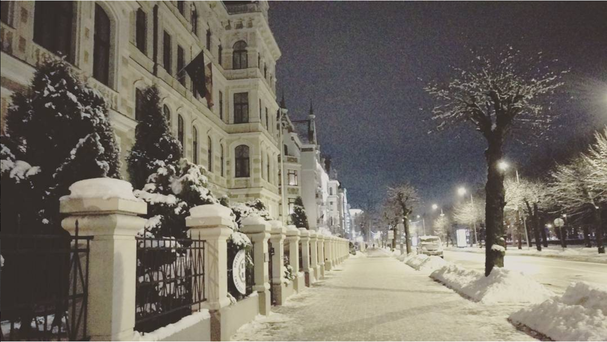 """The Broadway of Riga"" - Elizabetes street in winther"
