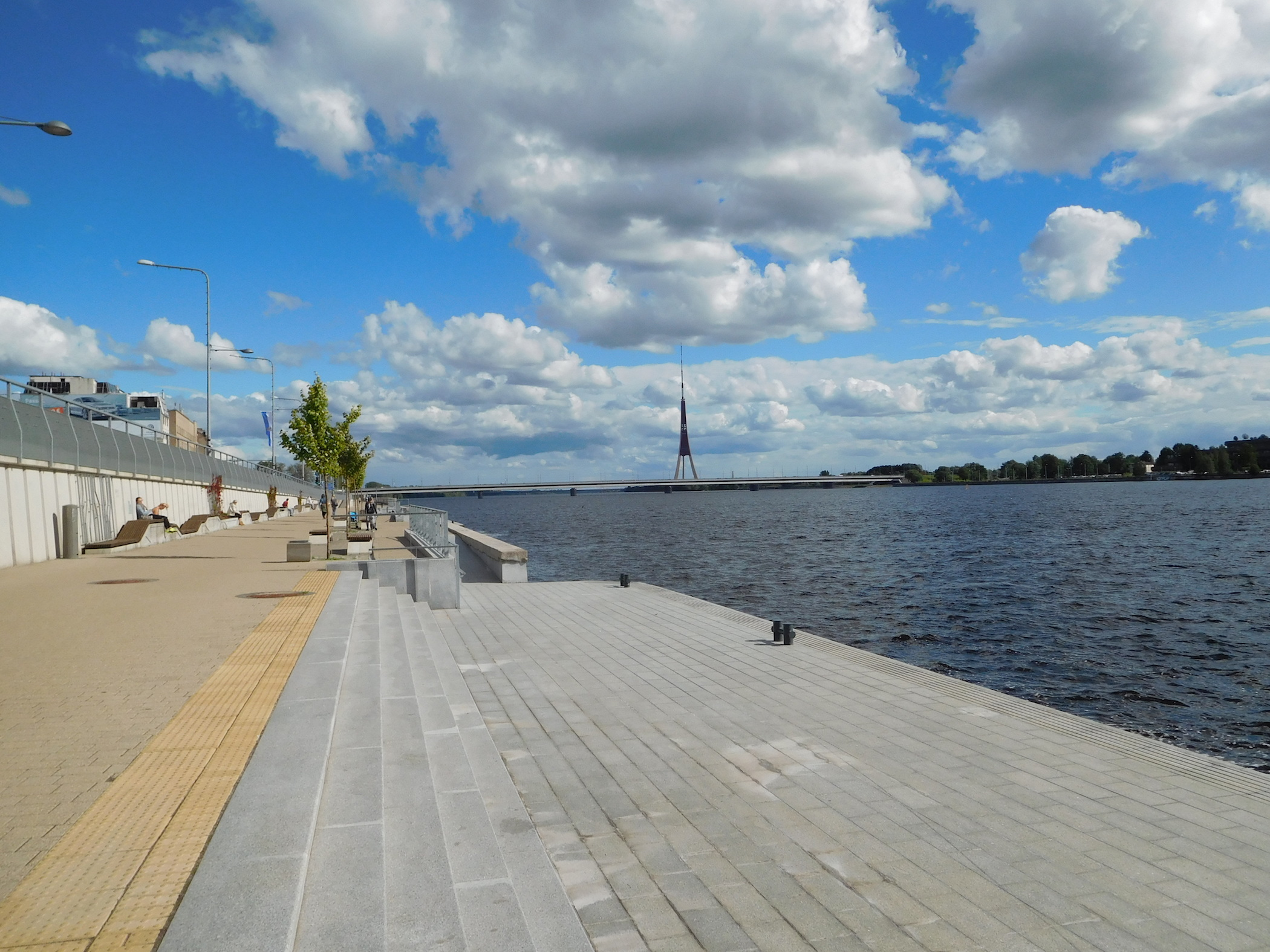 Stairs leading to waterfront of Daugava river