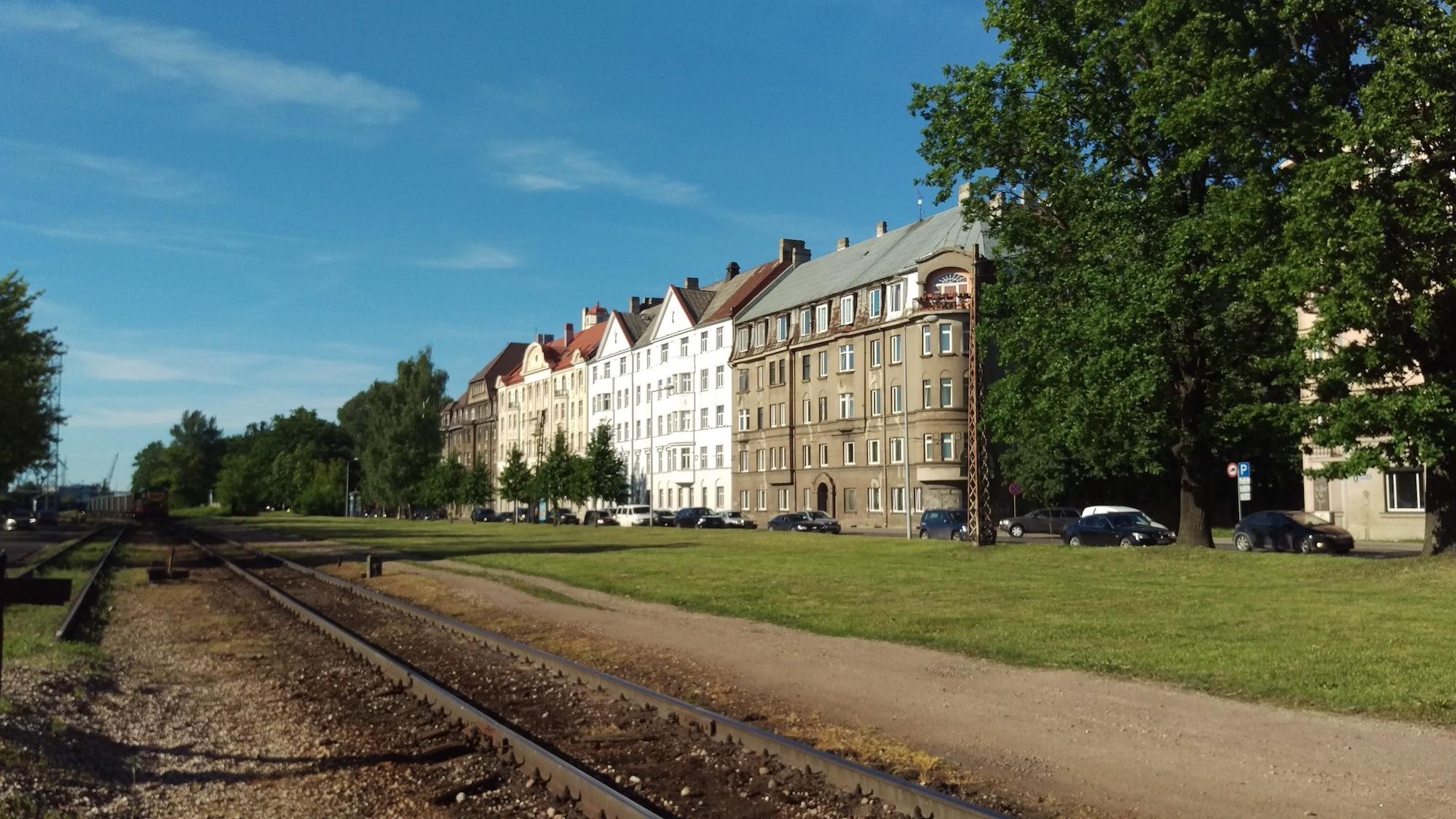 Art Nouveau buildings next to railway tracks? Cool!
