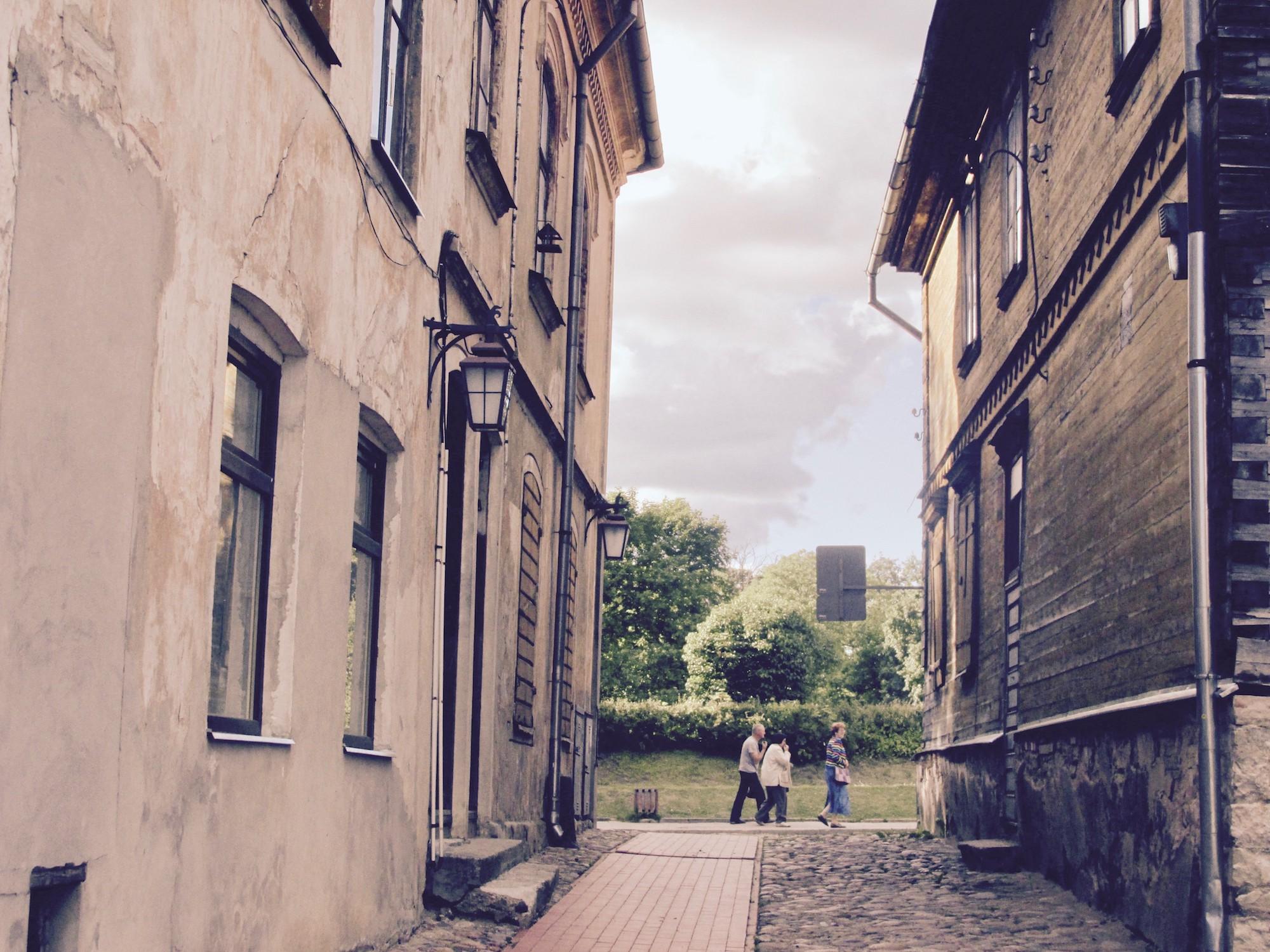 Local people enjoying the weekend in Old Town of Cesis.