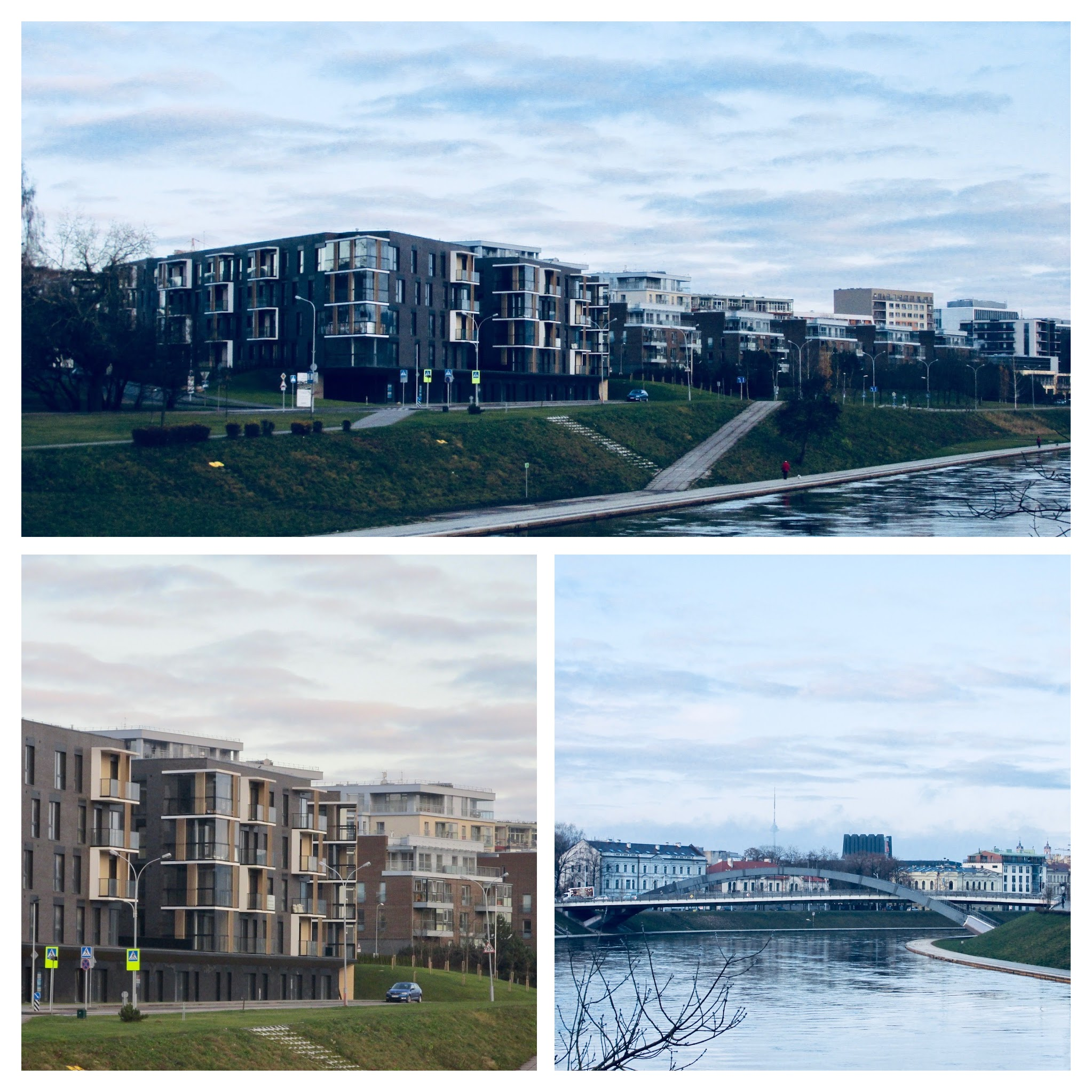 High class residential buildings next to Neris river