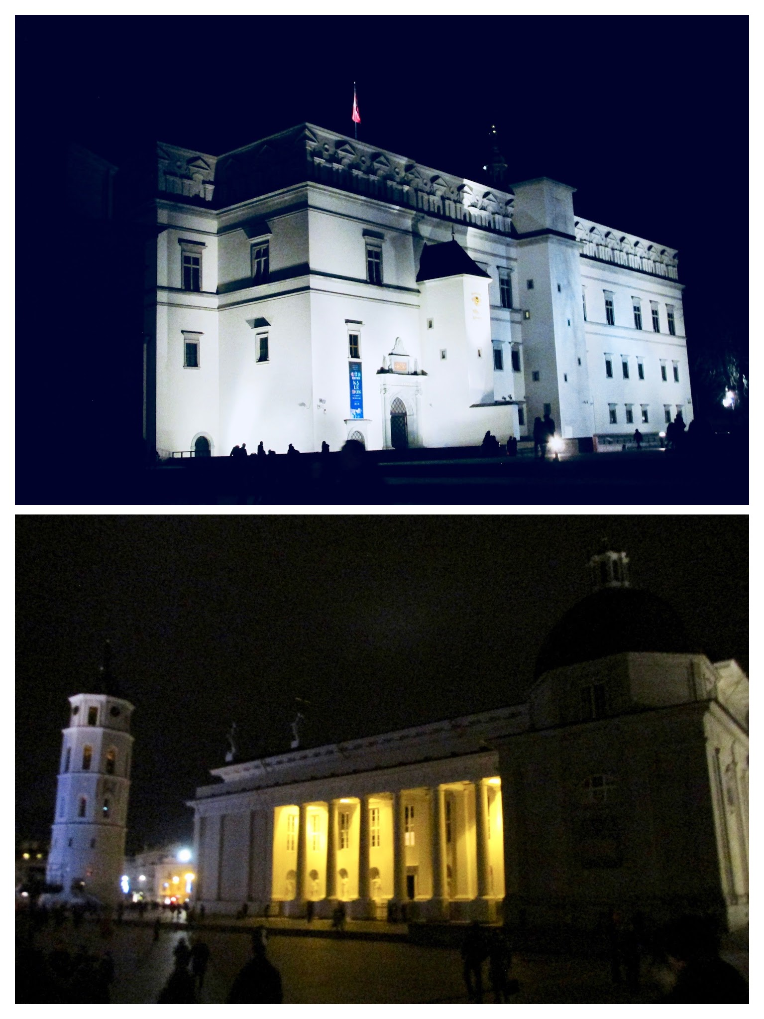 Palace of the Grand Dukes of Lithuania and Vilnius Cathedral brightly glowing in the night.
