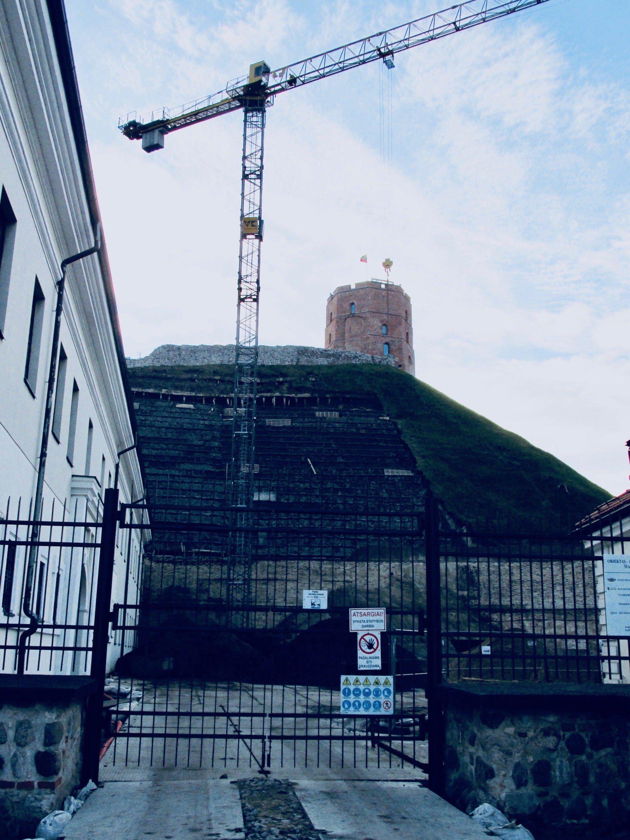 Restoration works at Gediminas hill
