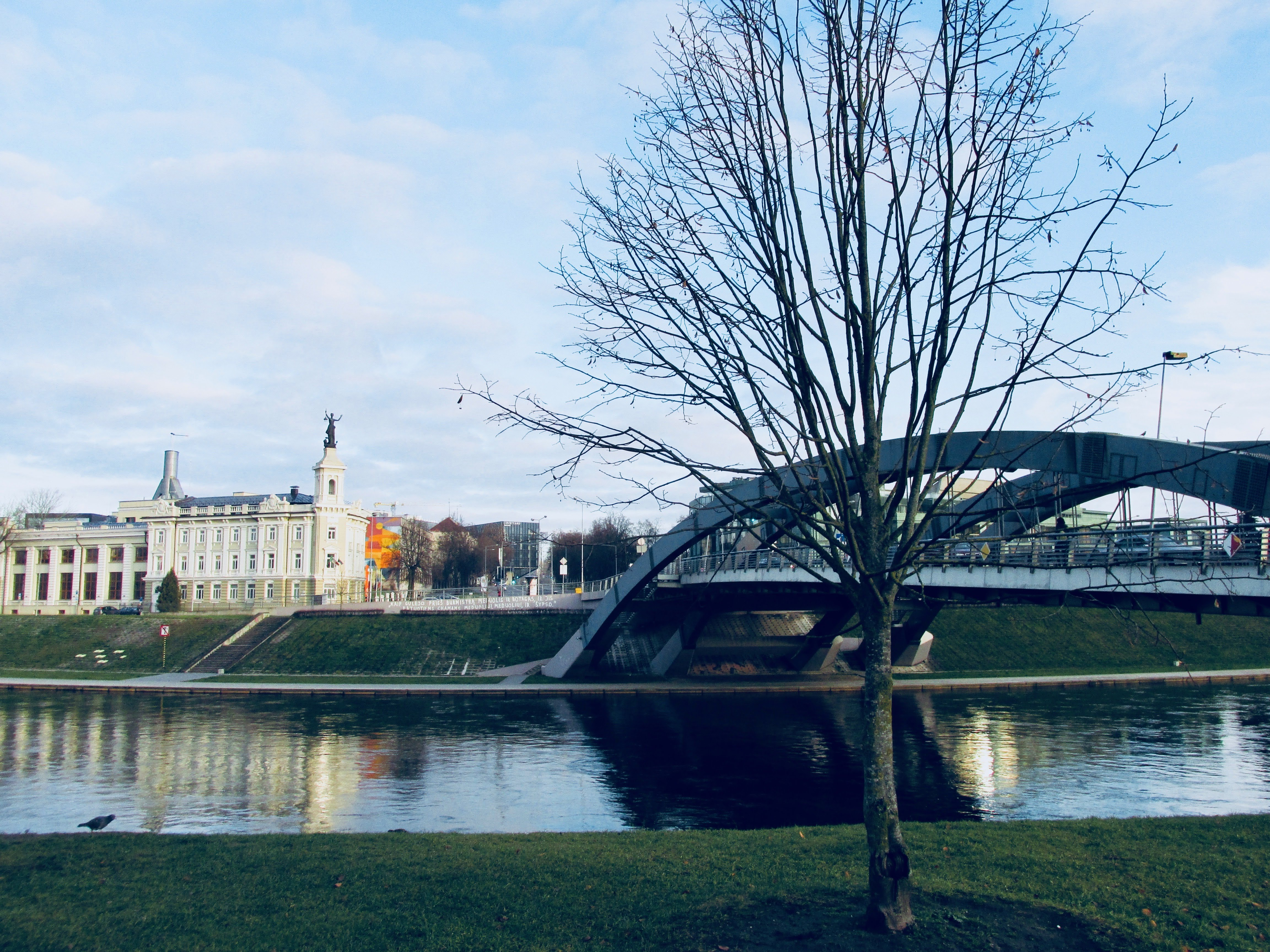 The Mindaugas Bridge. It crosses Neris River and connects Žirmūnai neighborhood with the Old Town of Vilnius