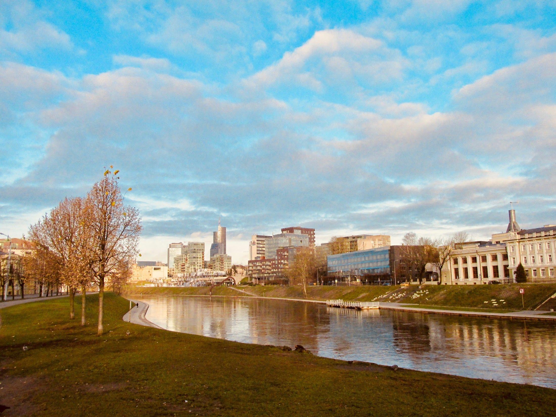 Blue sky over Vilnius city