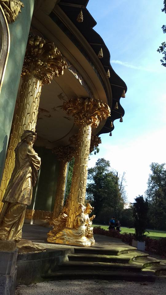 The spectacular details and golden columns of Chinese house at Sanssouci Park.