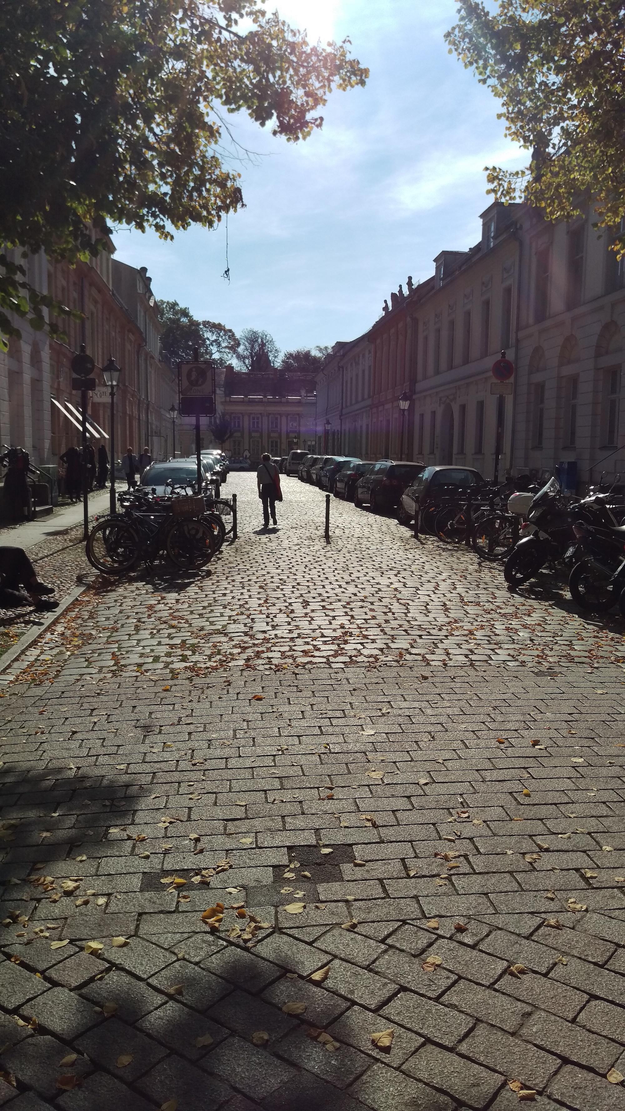 Narrow cobblestone streets in the Potsdam Ol town neighborhood.