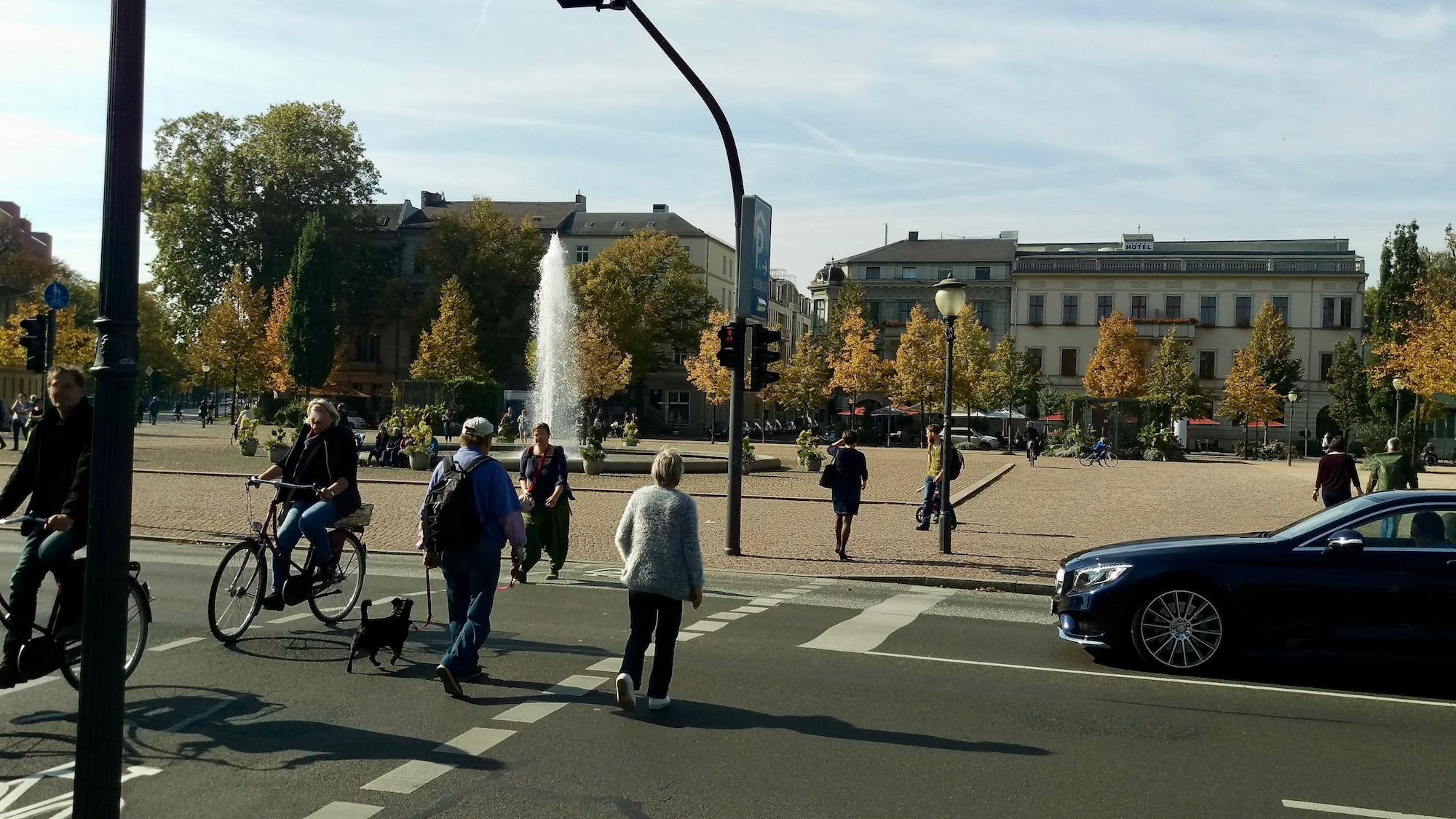 Luisenplatz looks great in a beautiful autumn day.