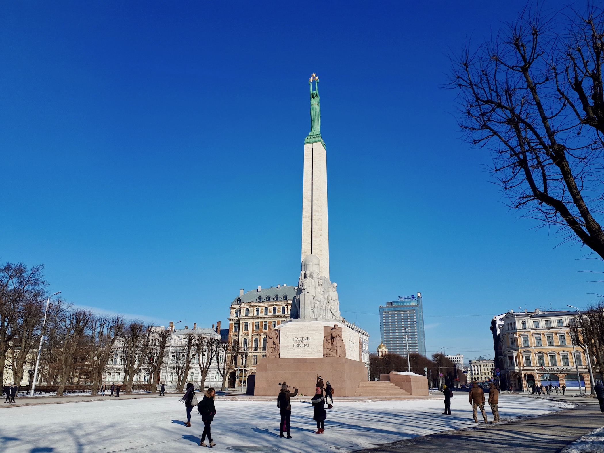 Freedom monument in Center neighborhood of Riga.