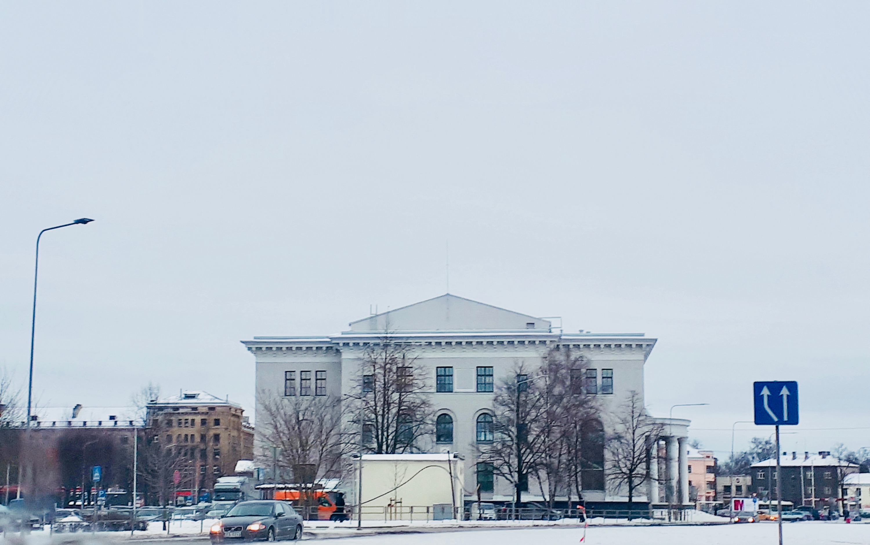 VEF Culture palace in winter time.