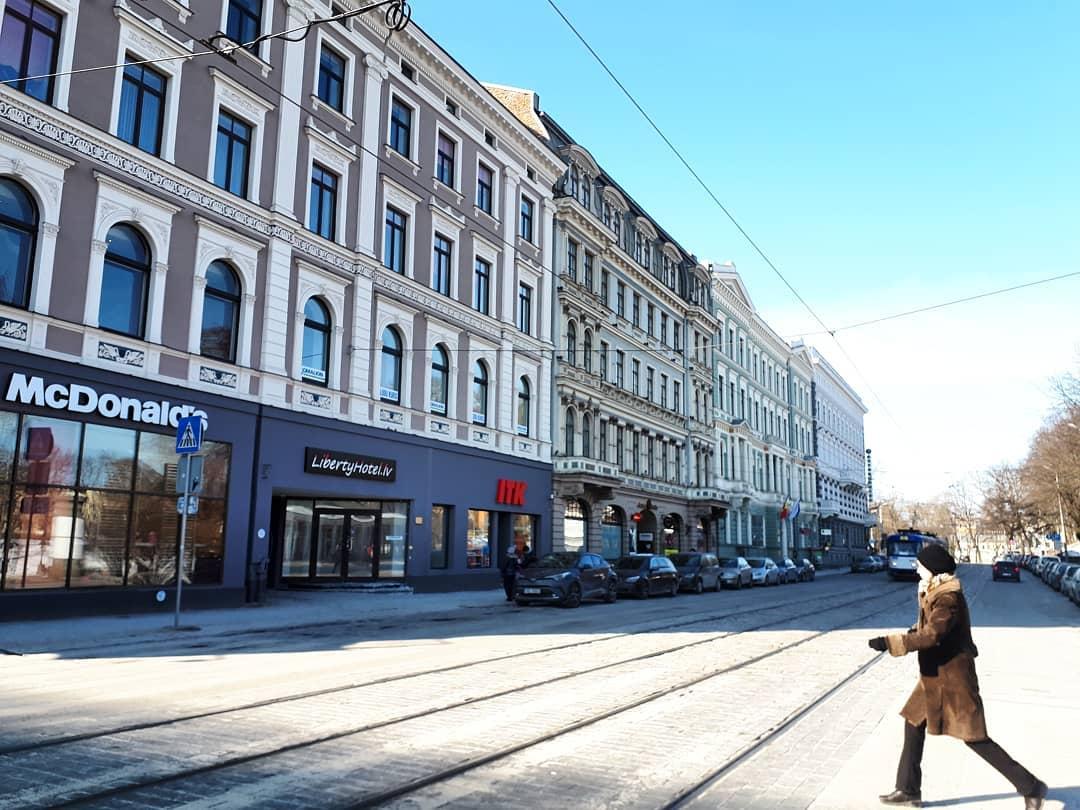 Zigfrida Annas Meierovica boulevard in Center neighborhood of Riga in winter time.