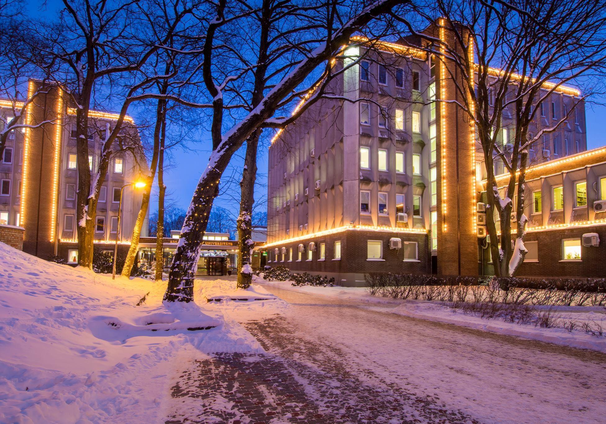 University building in winter